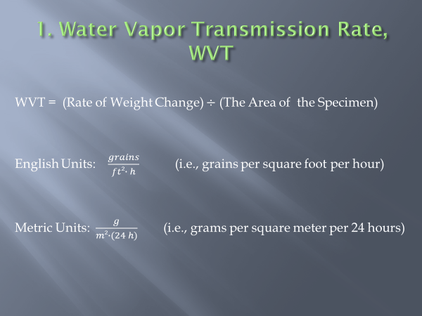 water vapor transmission